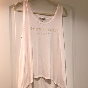 Champagne All Day high low tank
